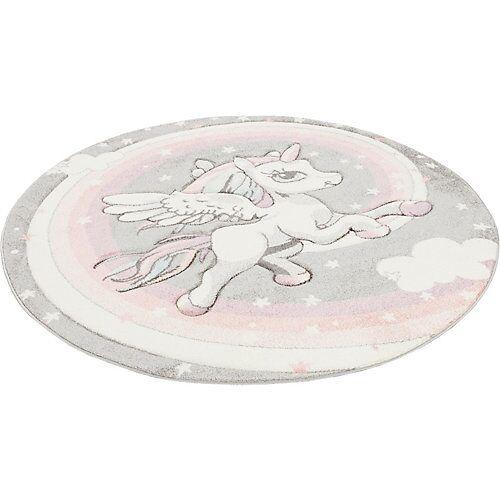 Pergamon Kinder Teppich Maui Kids Pastell Einhorn Rund Spielteppiche grau