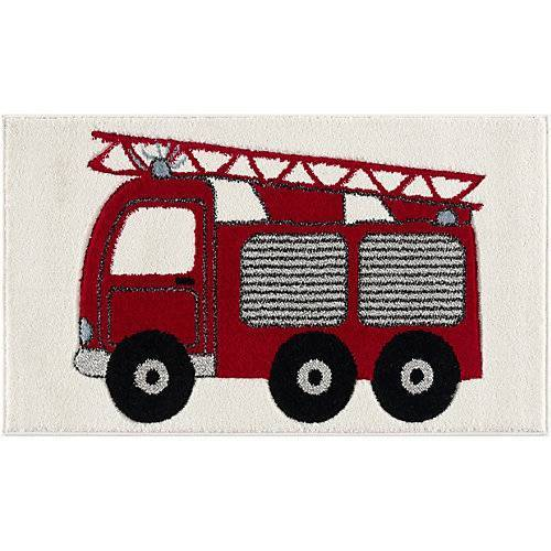 Happy Rugs Kinderteppich Feuerwehrauto rot, 60 x 110 cm rot-kombi