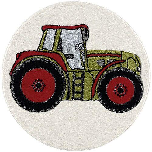 Happy Rugs Kinderteppich Traktor grün, 100 cm rund grün-kombi