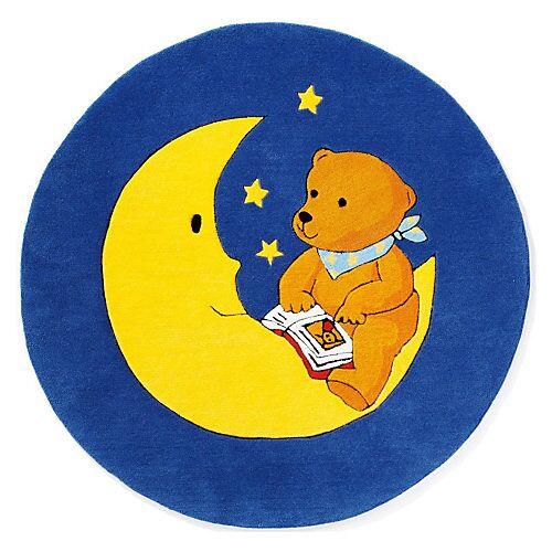 Kinderteppich Mondbär, 130 cm rund blau