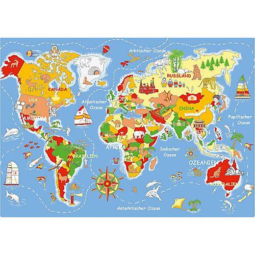 Eduplay Spielteppich Welt, 140 x 200 cm mehrfarbig