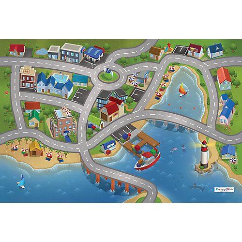 ACHOKA® Spielteppich Stadthafen, 80x120 cm blau