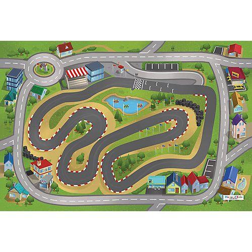 ACHOKA® Spielteppich Stadtrennsport, 80x120 cm grün
