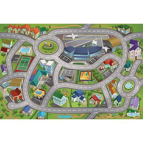 ACHOKA® Spielteppich Stadtflughafen, 80x120 cm grün