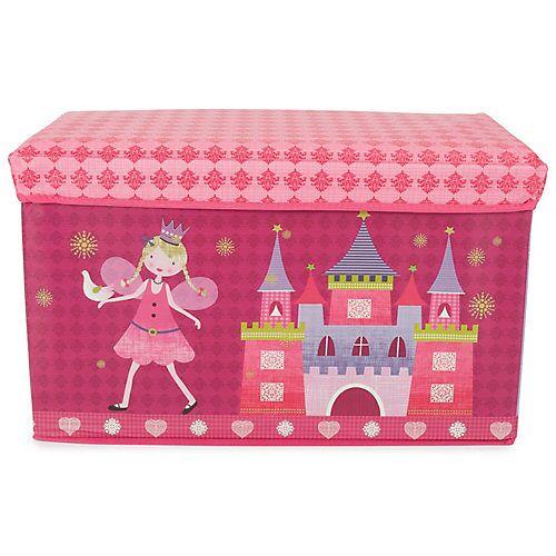 bieco Aufbewahrungsbox mit Deckel faltbar Sitzhocker und Polsterung Spielzeugkiste 66L Aufbewahrungsboxen rosa