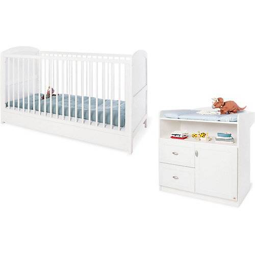 Pinolino Sparset LAURA (Kinderbett & Wickelkommode), Weiß weiß