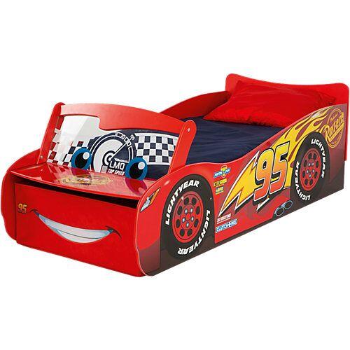 WORLDS APART Kinderbett mit leuchtender Windschutzscheibe, Cars, rot, 70 x 140 cm