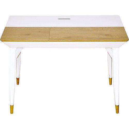 Schreibtisch Bartani, Wildeiche, weiß