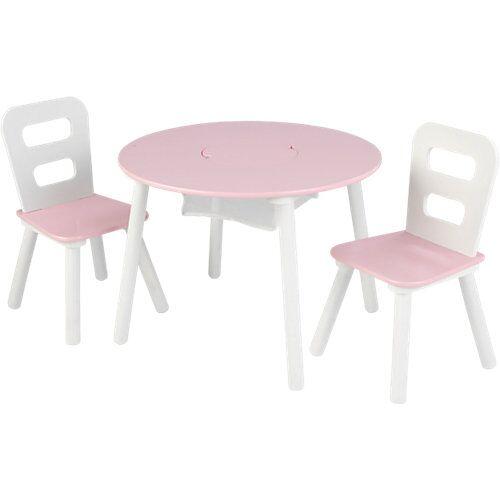 KidKraft Runder Aufbewahrungstisch mit zwei Stühlen, Weiß/Pink rosa