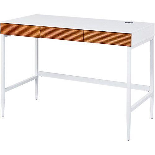 Schreibtisch SCANDICI, weiß matt/Eiche massiv