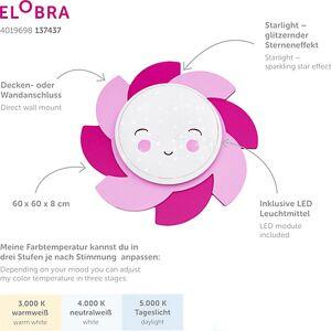 """Elobra """"Deckenleuchte Sonne """"""""Siri"""""""" Starlight Smile pink"""""""