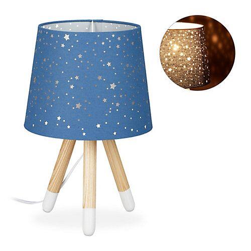 relaxdays Tischlampe Kinderzimmer Sterne blau