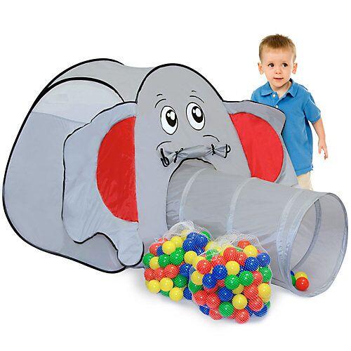 LittleTom Kinder Spielzelt mit 200 Bällebad Bällen - Kinderzelt Elefant grau