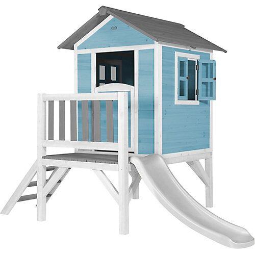 Axi Lodge XL Spielhaus Karibisches Blau - Weiße Rutsche blau/weiß
