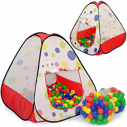 LittleTom Kinder Spielzelt mit 200 Bällebad Bällen - Kinderzelt Bunt mehrfarbig