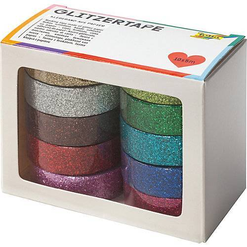 Folia Glitzer-Tape 10er Set, 5 m x 15 mm