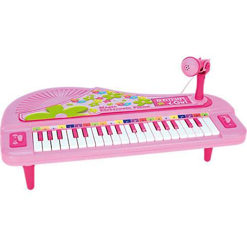Bontempi Elektronisches Keyboard mit Mikrofon, pink