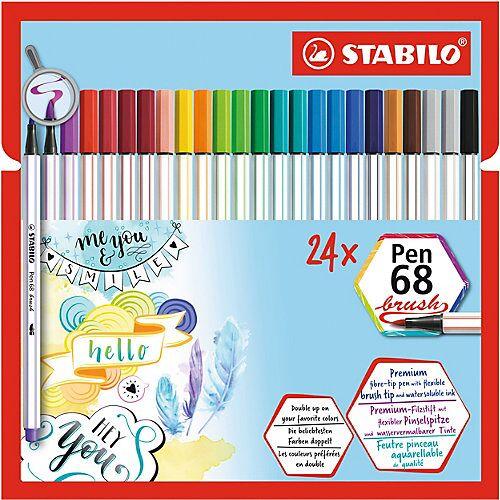 STABILO Filzstifte Pen 68 brush, 24 Stifte in 19 Farben