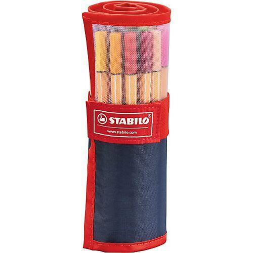 STABILO Fineliner point 88 im Rollerset rot/blau, 25 Farben
