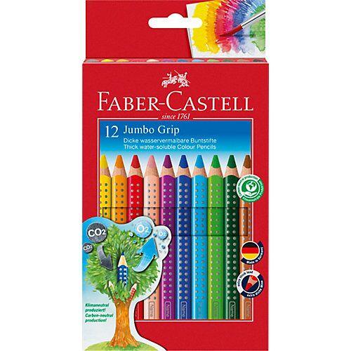 Faber-Castell JUMBO GRIP Buntstifte wasservermalbar, 12 Farben, inkl. Spitzer