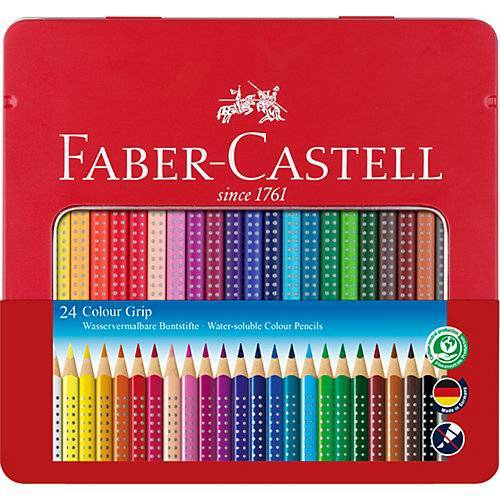 Faber-Castell COLOUR GRIP Buntstifte wasservermalbar, 24 Farben, Metalletui