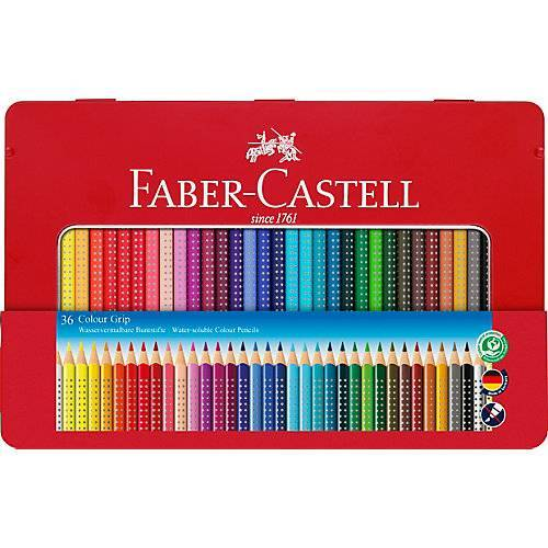 Faber-Castell COLOUR GRIP Buntstifte wasservermalbar, 36 Farben, Metalletui
