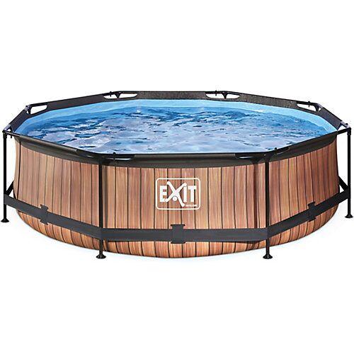 EXIT Frame Pool, ø 360 x 76 cm, Holzoptik holzfarben