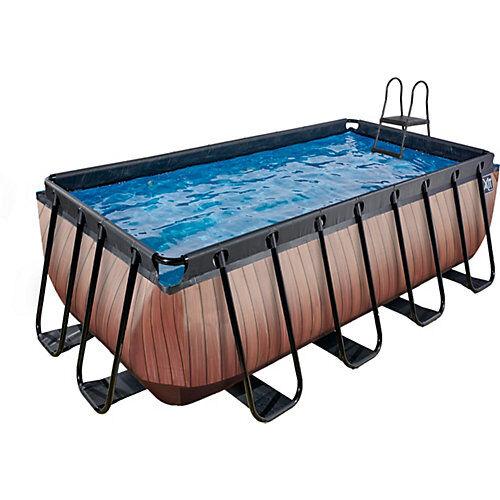 EXIT Wood Pool 220x150x65cm mit Filterpumpe - braun