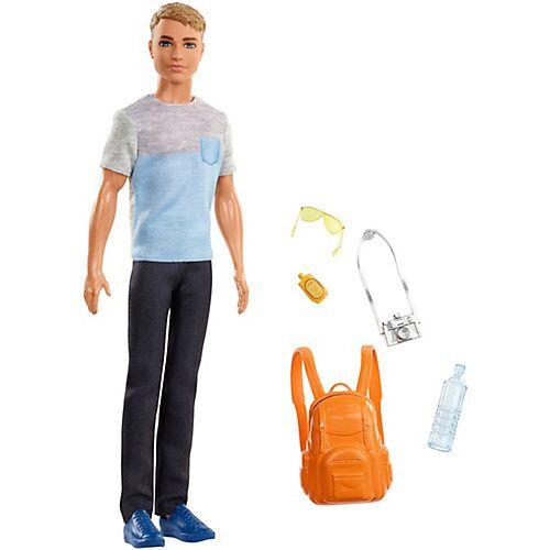 Mattel Barbie Ken Reise Puppe (blond) mit Zubehör, Anziehpuppe, Modepuppe, Barbie Urlaub
