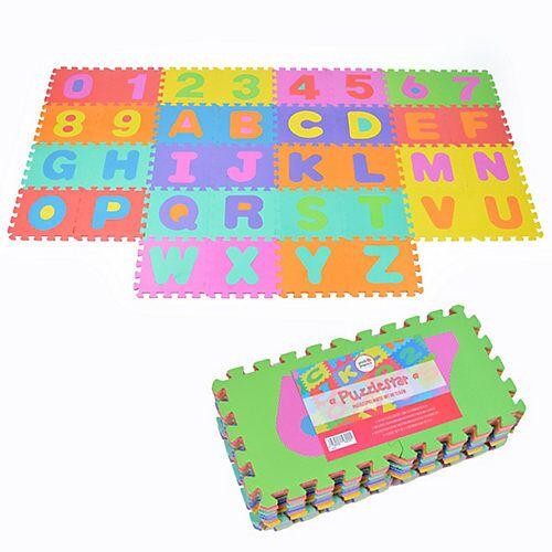 Pink Papaya Puzzlematte mit Zahlen und Buchstaben Puzzlestar ABC/123 bunt