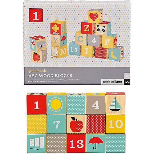 Petit Collage ABC Bauklötze 15-teilig bunt