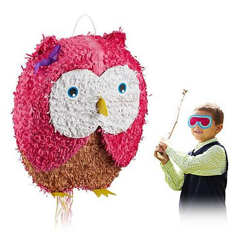 relaxdays Pinata Eule pink