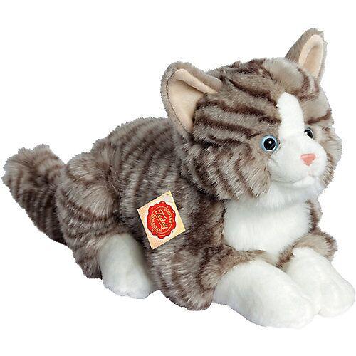 Teddy-Hermann Katze liegend grau, 30 cm
