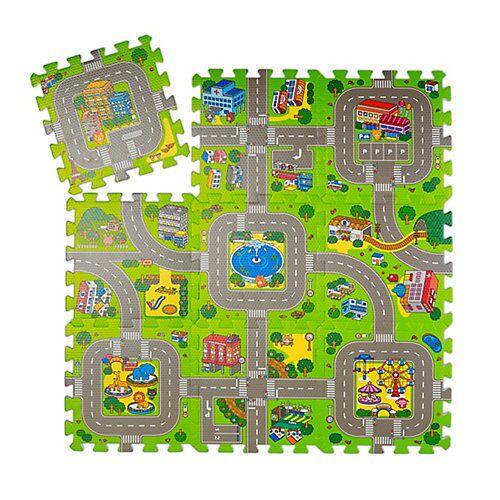 relaxdays Puzzlematte Straße mit Tieren mehrfarbig