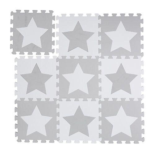 relaxdays 9 x Puzzlematte Sterne grau Spielmatte Krabbelmatte Puzzleteppich Kindermatte weiß-kombi
