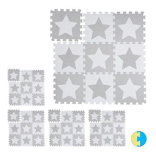 relaxdays 45 x Puzzlematte Sterne Spielteppich Kinderspielteppich Puzzleteppich Bodenmatte weiß-kombi
