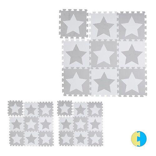 relaxdays 27 x Puzzlematte Sterne Kinderspielmatte Krabbelunterlage Puzzleteppich Play Mat weiß-kombi