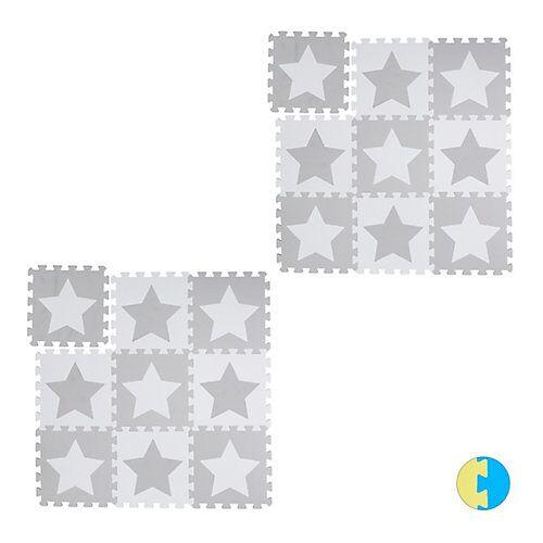 relaxdays 18 x Puzzlematte Sterne Krabbelmatte Kinderspielmatte Puzzleteppich Kindermatte weiß-kombi