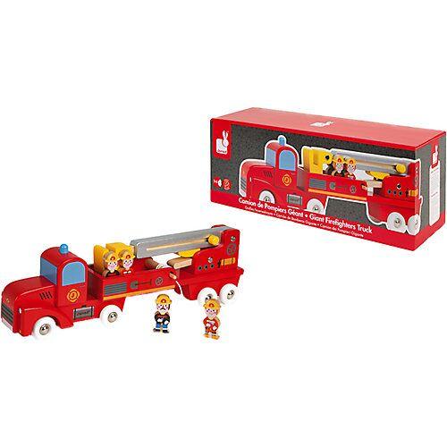 Janod Story Feuerwehrauto Holz mit 4 Holzfiguren