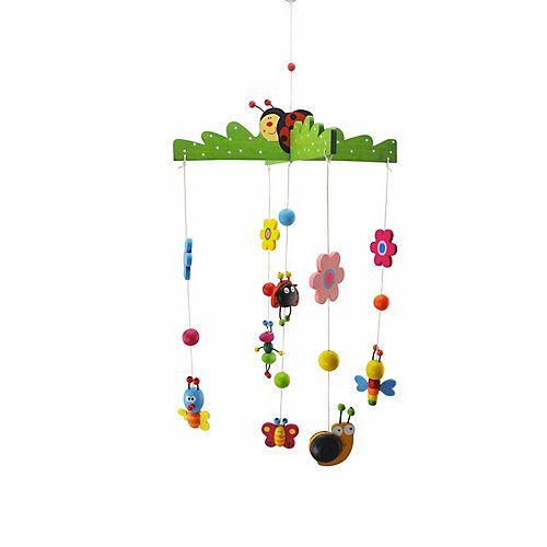 bieco 3D Baby Mobile Holz Käferchen Einschlafhilfe Babybett Dekoration Wickeltisch 0M+ Mobilés mehrfarbig