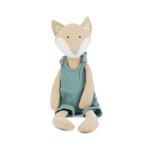 bieco Baby Kuscheltier Spieltier aus Leinen & Musselin ca. 40cm Plüsch Greifling Baby Kuscheltiere blau