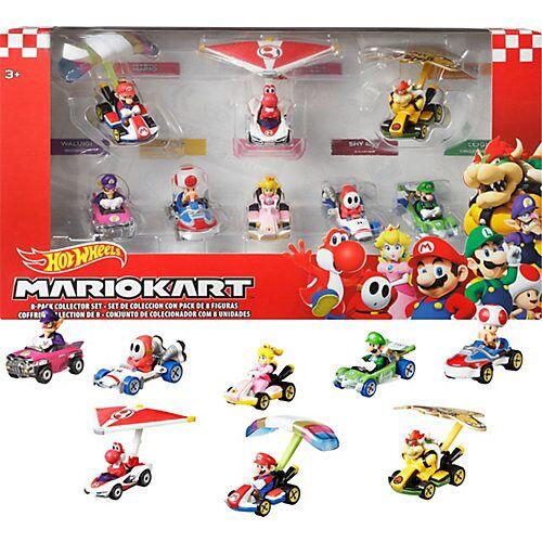 Mattel Hot Wheels Mario Kart Glider Set inkl. 5 Spielzeugautos, Rennautos