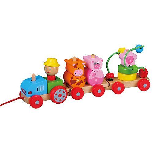 Lelin Holzspielzeug Nachziehspielzeug Traktor bunt