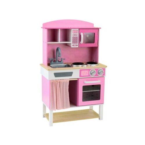 best for kids Kinderküche Kinderküche Spielküche aus Holz mit Zubehör pink-rosa