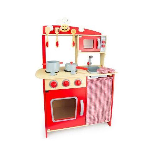 best for kids Kinderküche Kinderküche Spielküche aus Holz mit Zubehör chilli rot