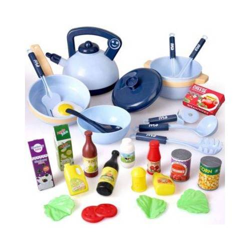 BeebeeRun® Spielgeschirr kochen Geschirr Set blau