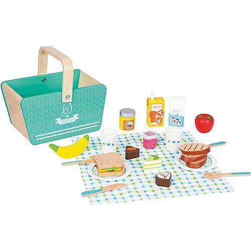Lelin Holzspielzeug Picknick-Set / Picknickkorb bunt