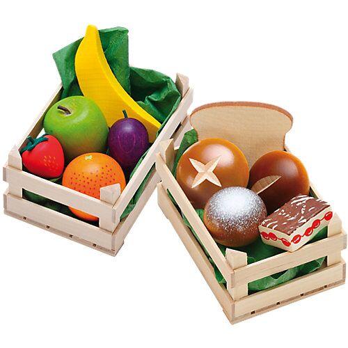 ERZI Spiellebensmittel Set Obst+Backwaren aus Holz