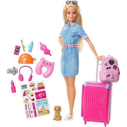 Mattel Barbie Reise Puppe (blond) mit Zubehör, Anziehpuppe, Modepuppe, Barbie Urlaub