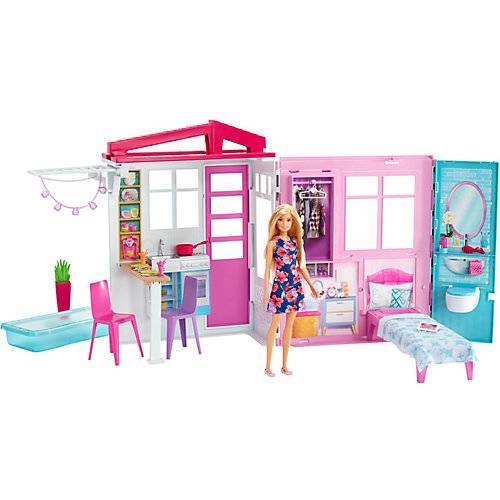 Mattel Barbie® Ferienhaus mit Möbeln und Puppe (blond), Puppenhaus mit Zubehör